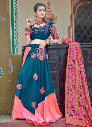 Teal Blue And Pink Color Navratri Special Chaniya Choli