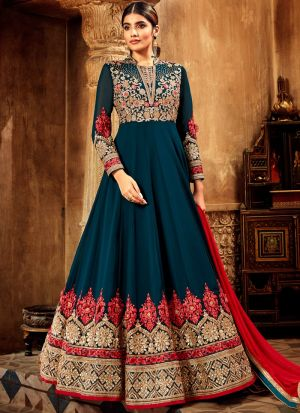 Teal Blue Pure Georgette Wedding Wear Anarkali Suit