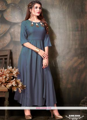 Teal Blue Rayon Plain Designer Ladies Kurti