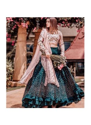 Teal Blue Taffeta Silk Latest Design Lehenga Choli Collection