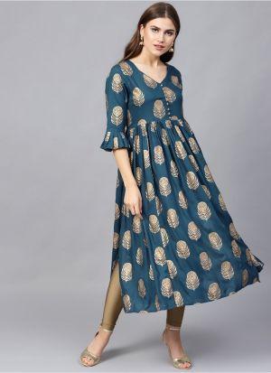 Teal Blue Viscose Rayon Designer Party Wear Long Kurti