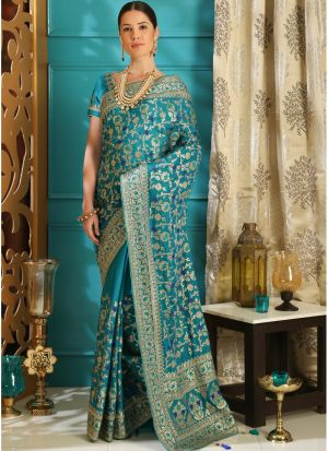 Teal Embroidered Silk Party Wear Saree