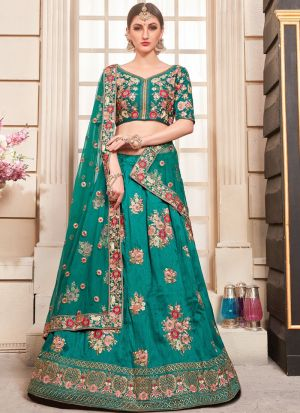 Teal Green Designer Wedding Bridal Lehenga Choli With Bridal Net Dupatta