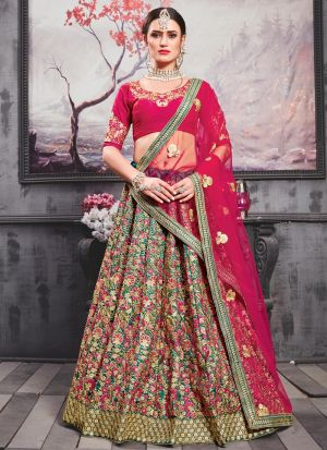 Teal Green Phantom Silk Latest Indian Wedding Lehenga Choli With Bridal Net Dupatta