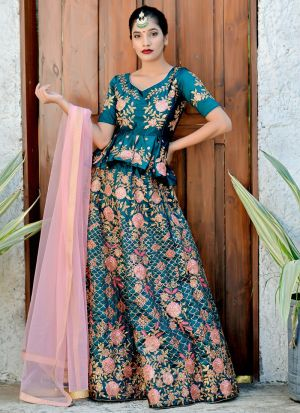 Teal Green Satin Silk Embroidered Bridal Lehenga Choli With Bridal Net Dupatta