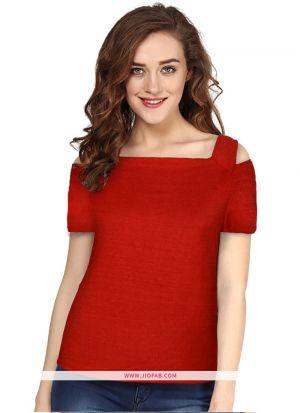 Tipsy Red Color Knitting Plain Girls Trendy T Shirt