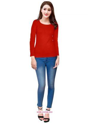 Tipsy Red Knitting Plain Girls Trendy T Shirt