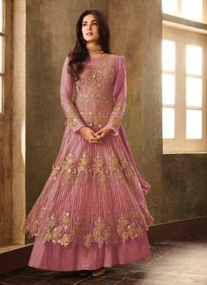 Traditional Baby Pink Heavy Net Floor Length Salwar Suit