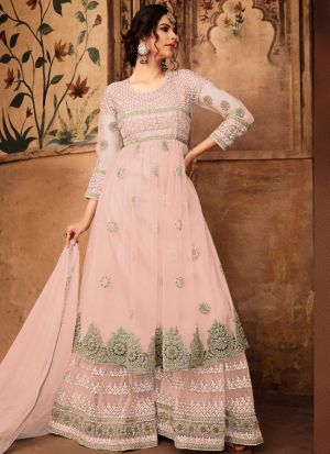 Traditional Baby Pink Heavy Net Palazzo Style Salwar Suit