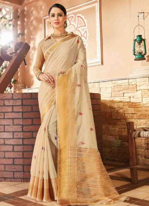 Traditional Beige Wedding Handloom Silk Saree