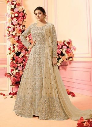 Traditional Cream Heavy Net Floor Length Salwar Suit