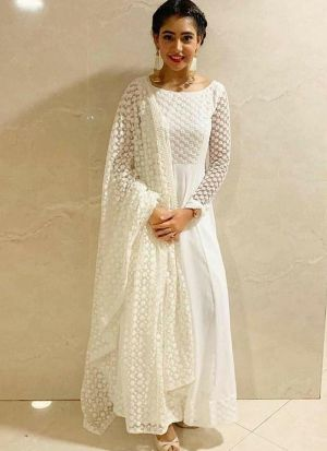 Traditional Mono Net White Salwar Suit