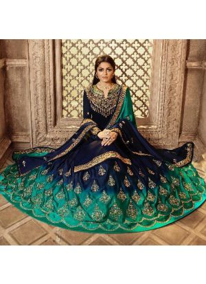 Traditional Multi Color Satin Georgette Lehenga Style Salwar Suit