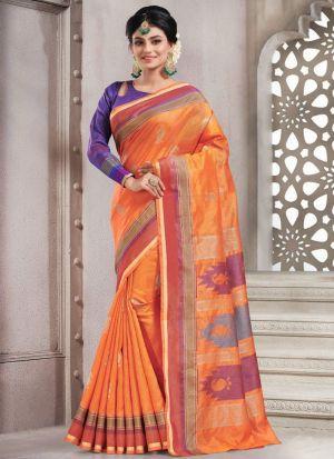 Traditional Orange Wedding Handloom Silk Saree