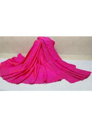 Traditional Rani Wedding Wear Makhan Malai Silk Saree With Blouse