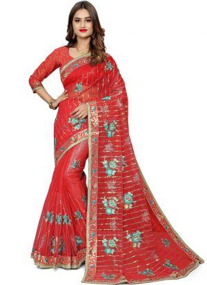 Traditional Red Wedding Bemberg Saree