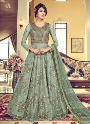 Traditional Sage Color Heavy Net Floor Length Salwar Suit