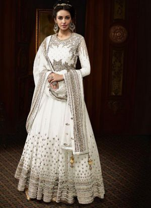 Traditional White Heavy Net Floor Length Salwar Suit