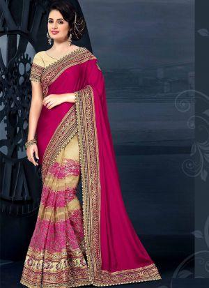 Trending Chinon Silk Georgette Half And Half Magenta Pink Saree