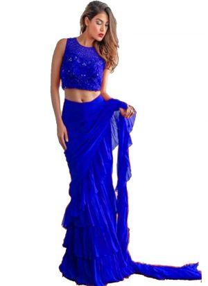 Trendy Blue Georgette Plain Ruffle Saree