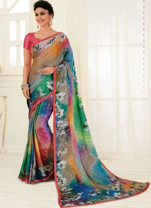 Trendy Exclusively Multi Color Traditional Satin Georgette Saree
