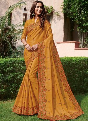 Trendy Exclusively Mustard Traditional Tussar Silk Saree