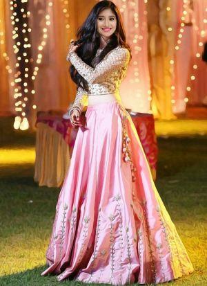 Trendy Lotus Pink Taffeta Silk Fancy Thread Work Lehenga Choli With Mono Net Dupatta
