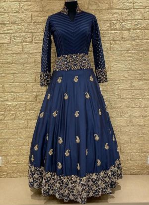 Trendy Navy Colour Thread Work Party Wear Gown