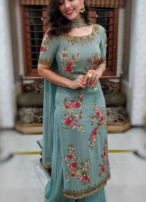 Trendy Turquoise Blue Sequence Thread Work Festive Wear Salwar Suit