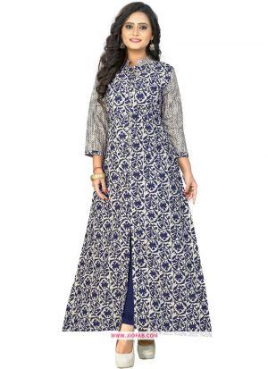 Cotton Blue Printed Partywear Kurti