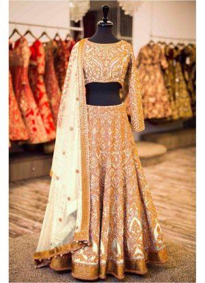 Upcoming Beige Banglori Silk Latest Bridal Lehenga Design