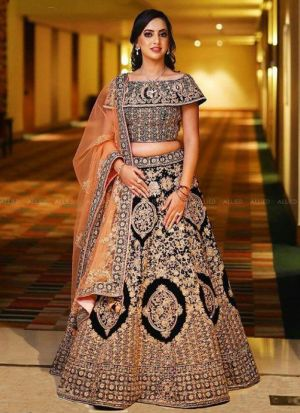 Upcoming Black Banglori Satin Silk Latest Bridal Lehenga Design