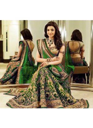 Upcoming Green Banglori Silk Latest Bridal Lehenga Design