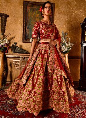 Upcoming Maroon Bamboo Silk Latest Bridal Lehenga Design
