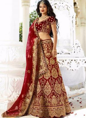 Upcoming Maroon Phantom Silk Latest Bridal Lehenga Design