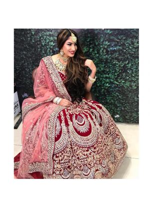 Velvet Silk Maroon Color Wedding Bridal Lehenga Choli With Double Dupatta