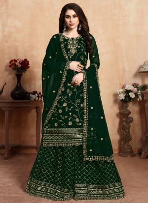 Wedding Collection Faux Georgette Green Palazzo Suits