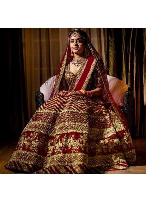 Wedding Collection Kerala Silk Maroon Color Bridal Lehenga Choli