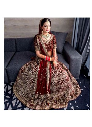 Wedding Collection Pure Velvet Maroon Color Bridal Lehenga Choli