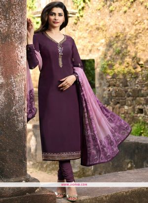 Wedding Designer Embroidered Purple Crepe Salwar Suit
