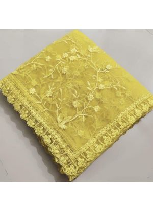 Wedding Designer Yellow Naylon Net Fancy Thread Work Saree