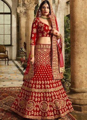 Wedding Wear Maroon Naylon Net Designer Lehenga Choli