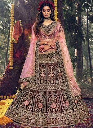 Wedding Wear Maroon Pure Velvet Thread Work Lehenga Choli