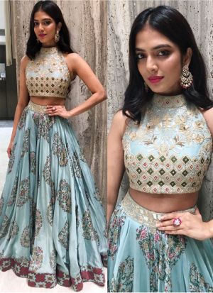 Wedding Wear Sky Blue Taffeta Silk Designer Lehenga Choli