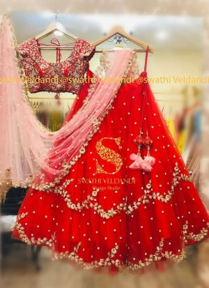 Wedding Wear Thread Work Mono Net Red Colour Lehenga