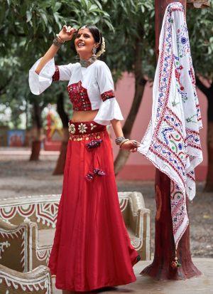 White And Maroon Color Chaniya Choli For Navratri