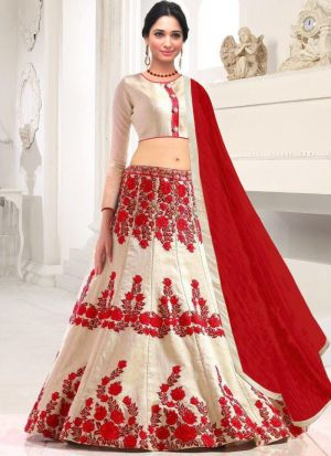 White Banglori Silk Indian Wedding Lehenga Choli With Chanderi Cotton Dupatta