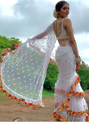 White Butterfly Mono Net Ruffle Saree