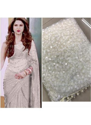 White Color New Launching Superhit Jennifer Winget Saree Special Edition
