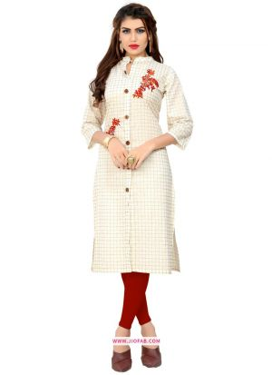 White Cotton Traditional Embroidered Stylish Kurti